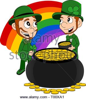 Illustration of a smiling leprechauns wearing a green suits a bow-ties and top hats, with pot o' gold and rainbow, isolated on a white background - Stock Photo
