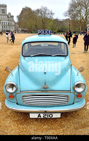 London, UK. 8th March 2019. Police Morris Minor 1000 (1969) at a display of old Police Cars in Horse Guards Parade to coincide with a march to celebra - Stock Photo