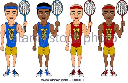 Collection of illustrations of diverse tennis players with rackets, isolated on a white background - Stock Photo