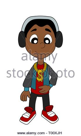 Happy hip hop kid illustration isolated on a white background - Stock Photo