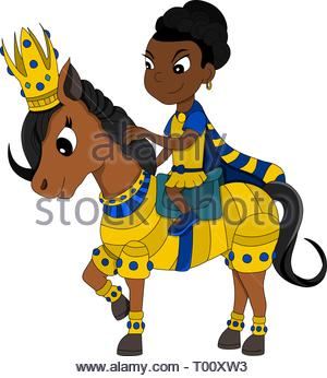 Illustration of a princess riding a pony in golden armor, isolated on a white background - Stock Photo