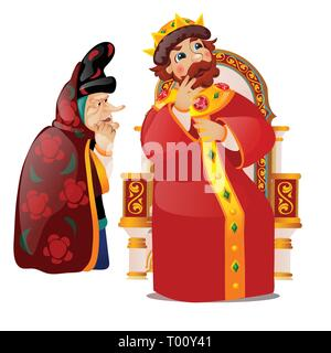The old woman persuades the king to think. Characters of Russian folklore and folk tales isolated on white background. The gossip queen and snitch - Stock Photo