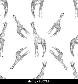 Seamless pattern of hand drawn sketch style giraffes isolated on white background. Vector illustration. - Stock Photo