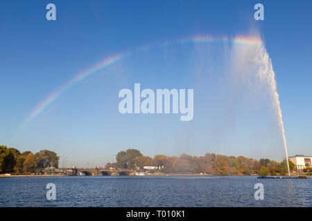 Inner Alster with the Alster Fountain in Hamburg, Germany. - Stock Photo