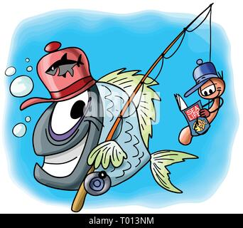 Cartoon fish character goes fishing together with his worm friend sitting on the hook and reading a magazine vector illustration - Stock Photo