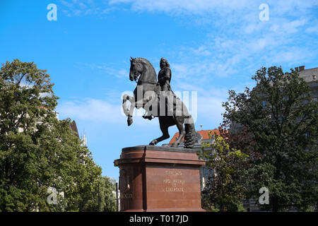 Statue of Francis Rákóczi II Monument in Front of Hungarian Parliament Building Budapest, Hungary - Stock Photo