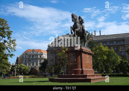 Statue of Francis Rákóczi II Monument in Front of Hungarian Parliament Building Landscape Budapest, Hungary - Stock Photo