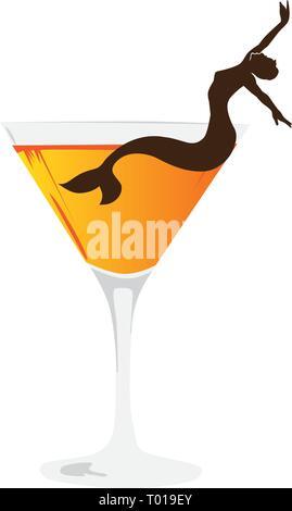 cocktail mermaid , logo icon - Stock Photo