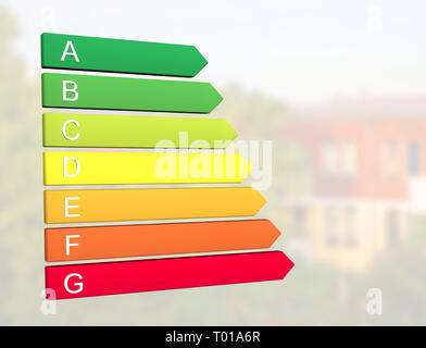 New 2019 european energy efficiency classification label with classes from A to G in front of home building background - Stock Photo