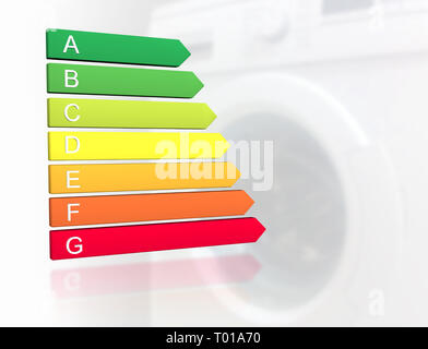 New 2019 european energy efficiency classification label with classes from A to G in front of washing machine background - Stock Photo