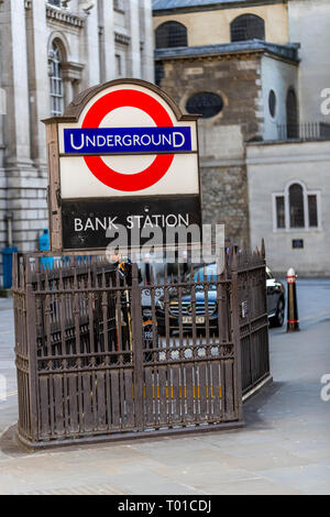 London Underground Bank Station in the heart of The City of London - Stock Photo
