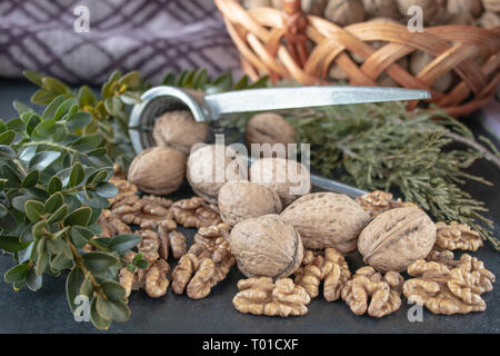 Walnuts on a black background, walnut kernels. Healthy food from walnut. Close-up. - Stock Photo
