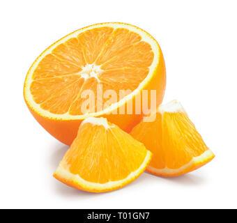 orange fruit slice isolated on white background. - Stock Photo