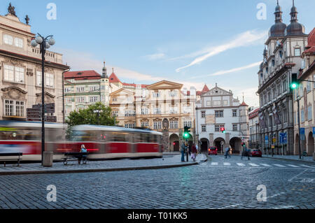 Prague, Czech Republic streets, Tarmvay beautiful view 2017-09-12 - Stock Photo