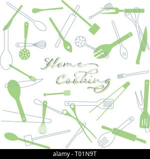Home Cooking concept background. Kitchen utensils vector illustration. text on separate layer. - Stock Photo