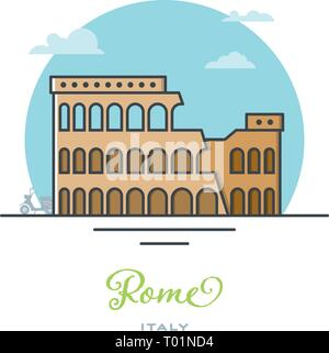 Coliseum amphitheater at Rome, Italy, flat vector illustration. Tourism and travel icon. - Stock Photo