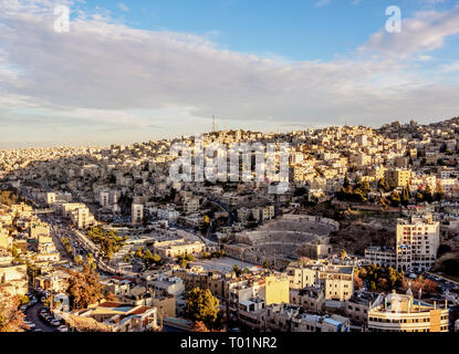Cityscape seen from Citadel Hill, Amman, Amman Governorate, Jordan - Stock Photo