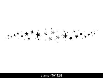 Falling star. Cloud of stars isolated on white background. Vector illustration - Stock Photo