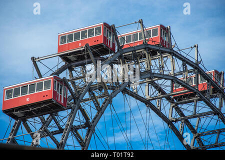 Giant Ferris Wheel at Prater Amusement park, Vienna, Austria. - Stock Photo