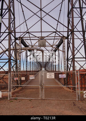 Historic Tanner's Crossing Bridge over the Little Colorado River, Cameron, Arizona. - Stock Photo