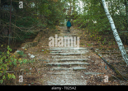 Chornobyl exclusion zone. Radioactive zone in Pripyat city - abandoned ghost town. Chernobyl history of catastrophe. Lost place in Ukraine, USSR - Stock Photo