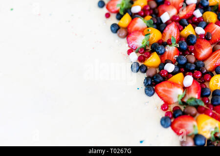 Close up. Creamy mascarpone cheese cake with strawberry and winter berries. New York Cheesecake. Close up. Christmas dessert. Healthy food Copyspasy f - Stock Photo