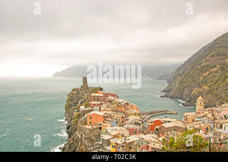 View of the picturesque town of Vernazza,  one of  The five Lands,   Cinque Terre in the Liguria Region of Italy - Stock Photo