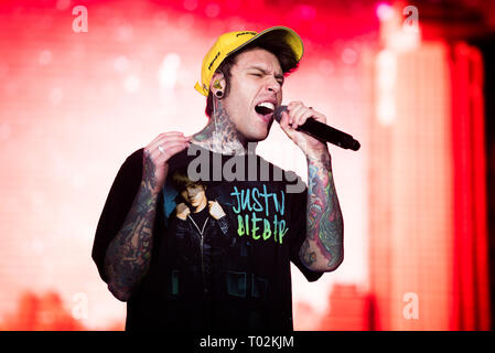 Torino, Italy. 16th March 2019. The Italian rapper Fedez performing live on stage for his first 'Paranoia Airlines' tour concert in Torino, at the Pala Alpitour Credit: Alessandro Bosio Credit: Alessandro Bosio/Alamy Live News - Stock Photo