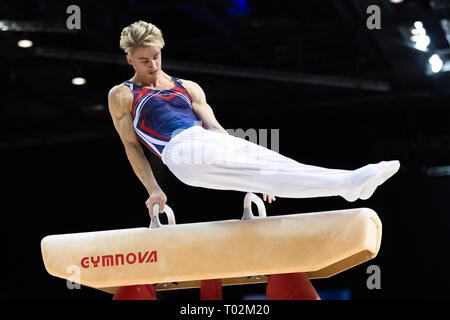 Liverpool, UK. 16th March 2019. in Man's Senior All-Around  during the 2019 Gymnastics British Championships at M&S Bank Arena on Saturday, 16 March 2019. LIVERPOOL ENGLAND. (Editorial use only, license required for commercial use. No use in betting, games or a single club/league/player publications.) Credit: Taka G Wu/Alamy News Credit: Taka Wu/Alamy Live News - Stock Photo