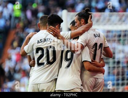 Madrid, Spain. 16th Mar, 2019. Players of Real Madrid celebrate a goal during a Spanish league match between Real Madrid and Celta de Vigo in Madrid, Spain, on March 16, 2019. Real Madrid won 2-0. Credit: Edward F. Peters/Xinhua/Alamy Live News - Stock Photo