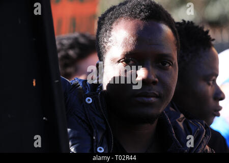 Athens, Greece. 16th Mar, 2019. People participate in a rally against racism and fascism in Athens, Greece, on March 16, 2019. Greek citizens, migrants and refugees took to the streets of Athens on Saturday to protest against racism and fascism ahead of the International Day for the Elimination of Racial Discrimination which is commemorated annually on March 21. Credit: Marios Lolos/Xinhua/Alamy Live News - Stock Photo