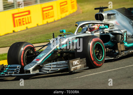 Melbourne, Australia. 17th March 2019.  Lewis HAMILTON 44 driving for MERCEDES-AMG PETRONAS MOTORSPORT  during the Formula 1 Rolex Australian Grand Prix 2019 at Albert Park Lake, Australia on March 17 2019. Credit: Dave Hewison Sports/Alamy Live News - Stock Photo