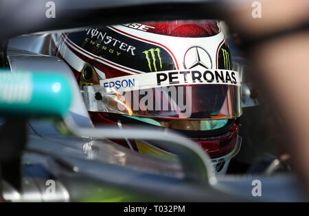 Melbourne, Australia. 17th Mar, 2019. Mercedes driver Lewis Hamilton of Britain reacts before the Formula 1 Australian Grand Prix 2019 at the Albert Park in Melbourne, Australia, March 17, 2019. Credit: Bai Xuefei/Xinhua/Alamy Live News - Stock Photo