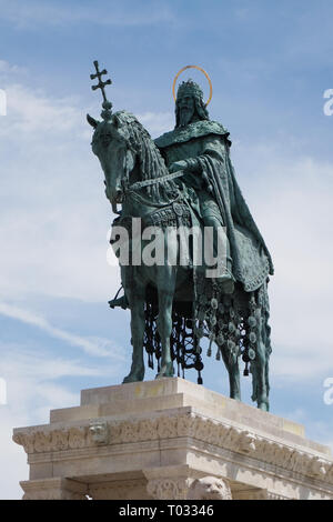 Statue of King St. Stephen I at the Fisherman's Bastion in Buda Castle Budapest, Hungary - Stock Photo