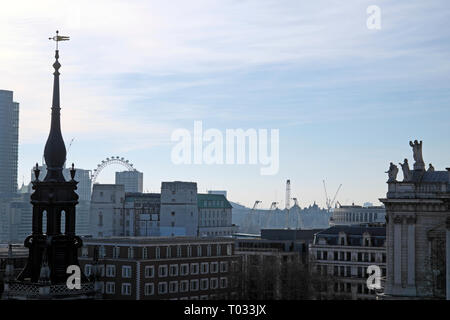 Cityscape from One New Change rooftop terrace looking towards the London Eye  in the City of London UK  KATHY DEWITT - Stock Photo