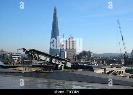 View of the Shard building and cityscape looking south from One New Change rooftop terrace in the City of London UK  KATHY DEWITT - Stock Photo