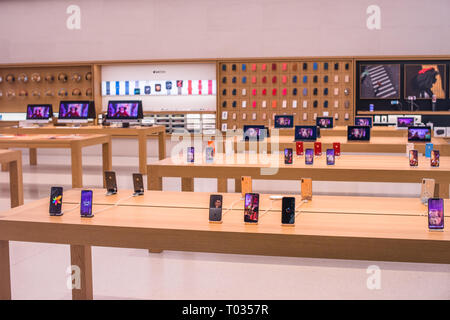 Interior view of Apple store in Vienna, Austria. - Stock Photo