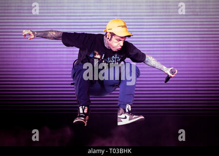 Turin, Italy. 17th Mar, 2019. The Italian rapper Federico Leonardo Lucia known as Fedez performing live on stage for his 'Paranoia Airlines' tour concert in Torino, at the Pala Alpitour. Credit: Alessandro Bosio/Pacific Press/Alamy Live News - Stock Photo