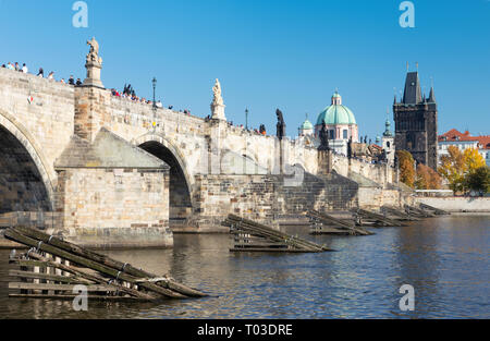 PRAGUE, CZECH REPUBLIC - OCTOBER 13, 2018:  The Charles bride from west. - Stock Photo