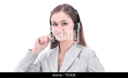 closeup.portrait of an employee call center with a headset. - Stock Photo