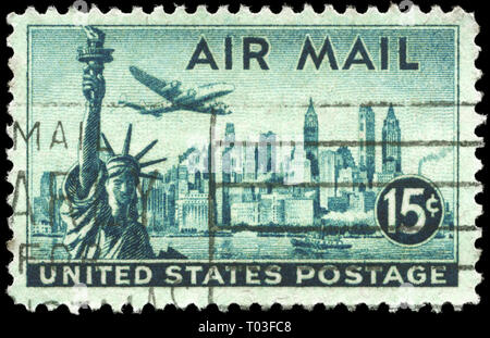 USA - CIRCA 1947: A Stamp printed in USA shows Statue of Liberty & New York Skyline, circa 1947 - Stock Photo