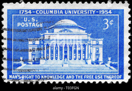 USA - CIRCA 1954: A Stamp printed in USA shows Low Memorial Library, Columbia University, 200th Anniversary, circa 1954 - Stock Photo