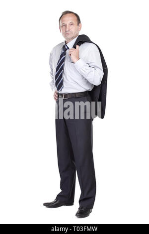 confident businessman holding a jacket over his shoulder - Stock Photo