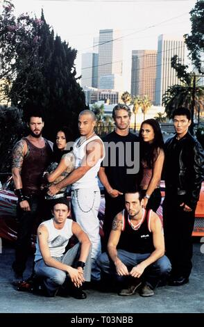 BACK: MATT SHULZE, MICHELLE RODRIGUEZ, VIN DIESEL, PAUL WALKER, JORDANA BREWSTER, RICK YUNE, FRONT: CHAD LINDBERG, JOHNNY STRONG - Stock Photo
