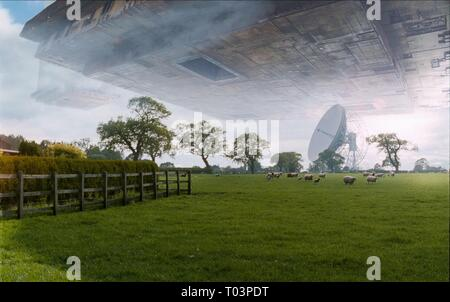 THE HITCHHIKER'S GUIDE TO THE GALAXY, VOGON SHIP ABOVE FIELD, 2005 - Stock Photo