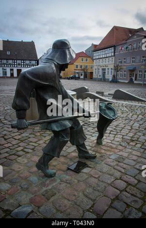 The Market Square in Ueckermünde,Vorpommern-Greifswald, Western Pomerania, near Germany's border with Poland. - Stock Photo