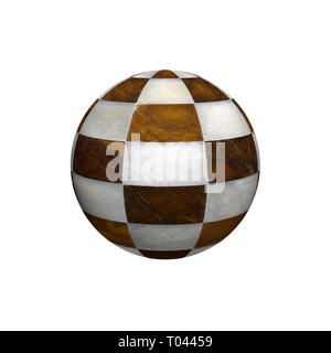 Globe-shaped marble chessboard. Conceptual image. - Stock Photo