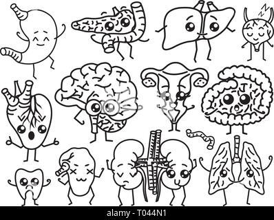 Set Of Organs Cute Happy Human Smiling Characters Vector Pins