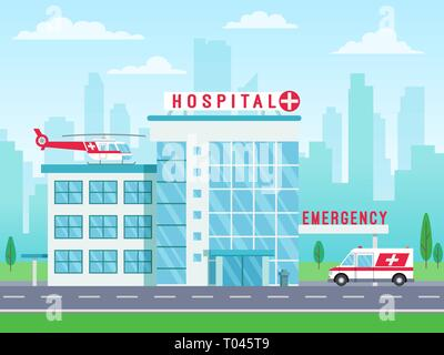 Hospital building with ambulance helicopter on roof and car standing on road, medical services, clinic building with big windows, vector illustration - Stock Photo