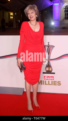 Dec 14, 2016 - London, England, United Kingdom - Sun Military Awards 2016 at The Guildhall - Red carpet Arrivals Photo Shows: Theresa May - Stock Photo